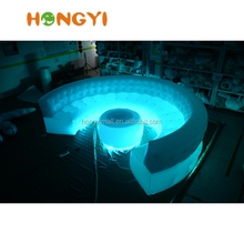 Custom latest curved LED inflatable sofa matching inflatable table set sales