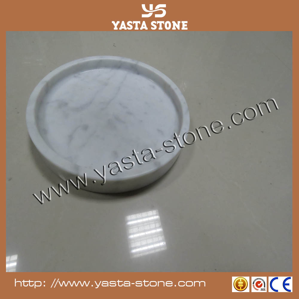 Handmade polished dia 20cm round marble plate food serving plate