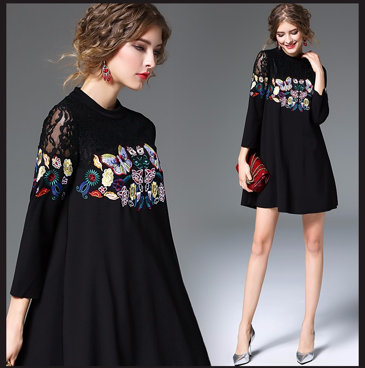 Spring New Fashion Black Lace Embroidery <strong>Dress</strong> Plus Size Women Loose Style Gorgeous Lace Three-quarter Sleeve Mini <strong>Dress</strong>