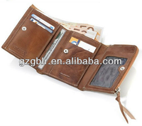 Guangzhou factory produced card holder wallet with zipper and coin pocket for men