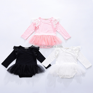 Good Price High Quality Infant Girls Lace Rompers Flutter Long Sleeve Bodysuit Wholesale