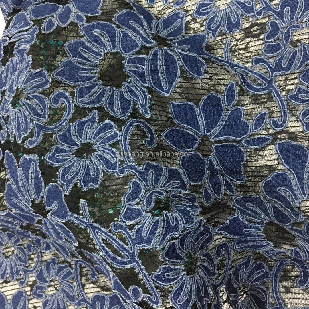 Fashion flower jean fabric of embroidery on mesh