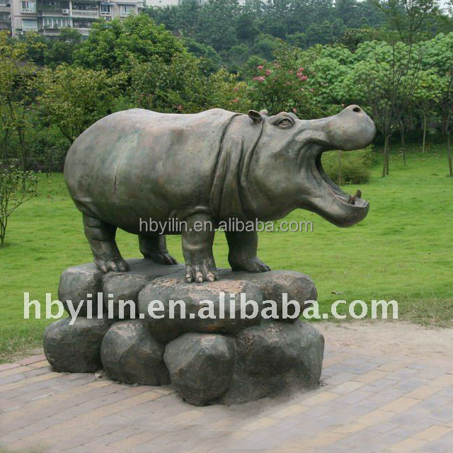 Large animal bronze hippo sculpture