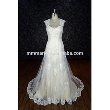 Latest bridal wedding gowns Cap straps lace decoration A line wedding dress Satin gown best dress alibaba wedding dress