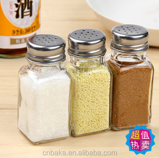 100ml square clear glass spice pepper chili bottle with screw,glass spice seasoning bottle,Glass condiment seasoning salt&pepper