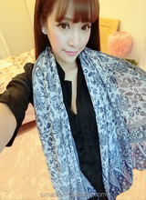 New Arrival Women's Blue And White Porcelain Tassel Scarf Shawl
