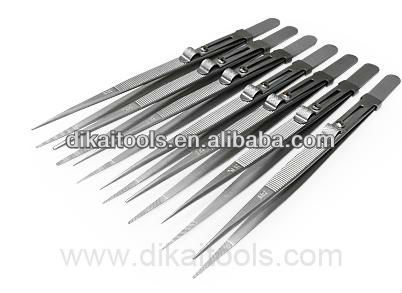 precision stainless steel locking tweezers for diamond