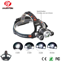 High power 3* led headlight strong light T6 led headlamp for camping hunting fishing