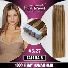 Long lasting colored 100% Remy brazilian Human Double Drawn Straight hand tied tape hair extensions