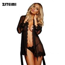 High Quality Sexy Gauze Bathrobe Lingerie With Belt Sexy Ladies Underwear