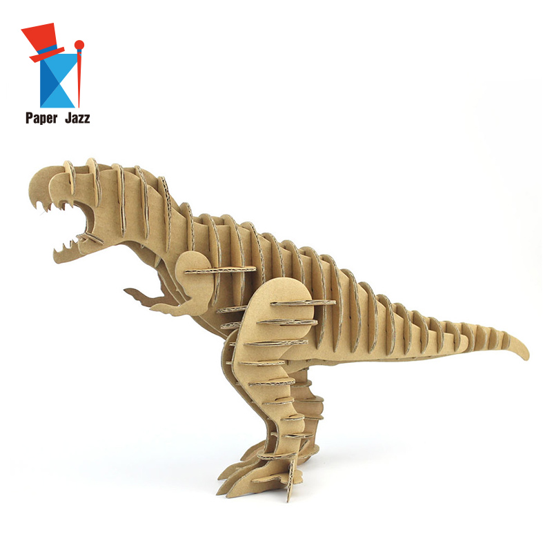 Household products animals <strong>crafts</strong> 3D cardboard tyrannosaurus