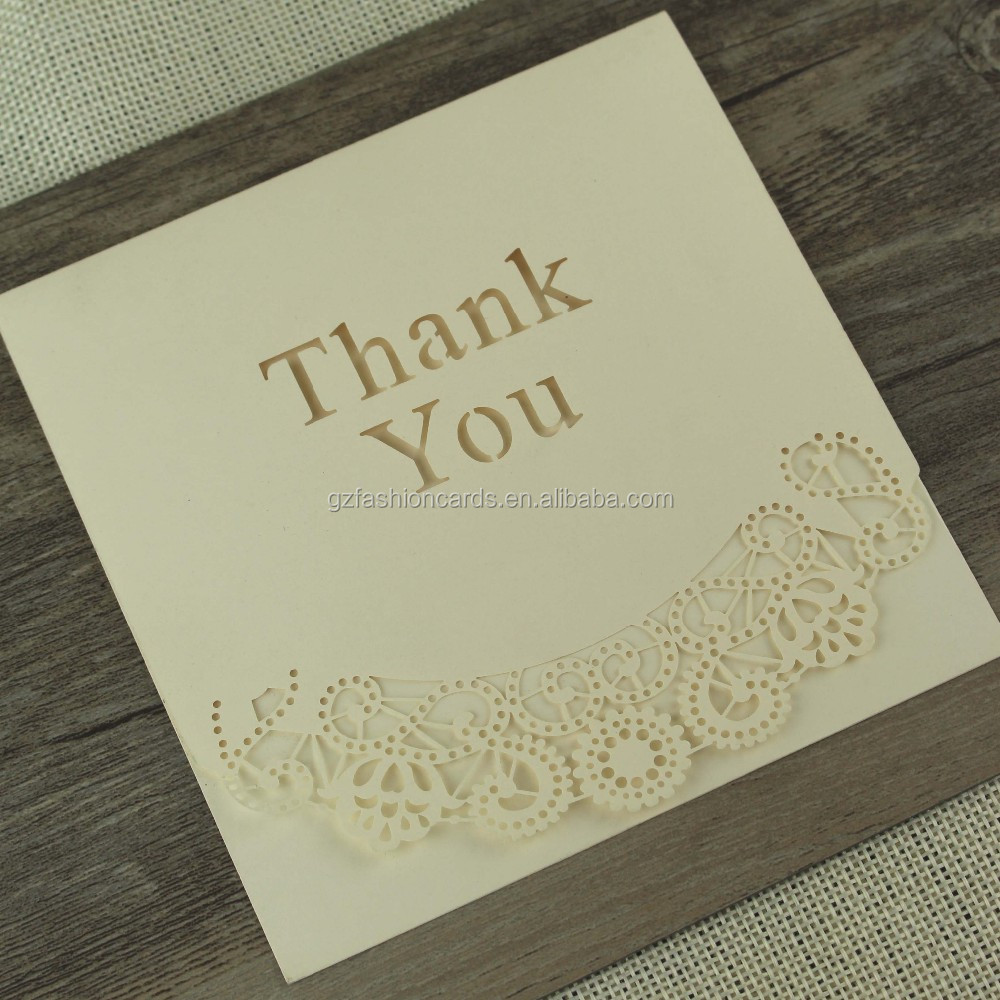 Chinese Design Folding White Laser Cut Weddind Thank You Cards with Envelope