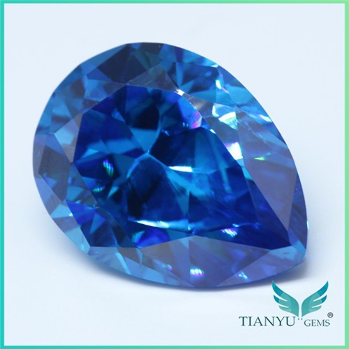 Hot sale new product aaaaa 18x24 blue imitation gems Faceted pear zirconia gemstone jewelry making supplies wholesale china