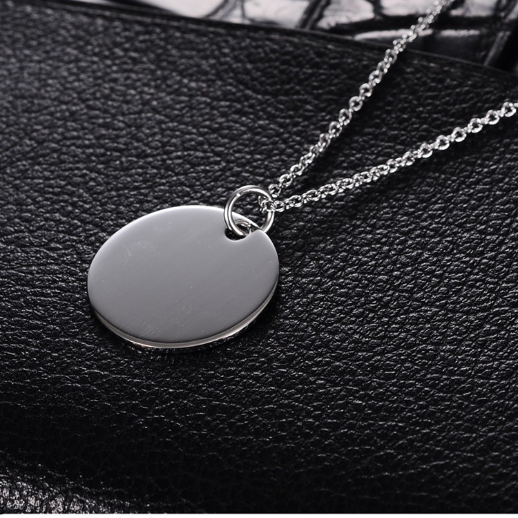 Cheap factory price round stainless steel silver blank necklace hang tag