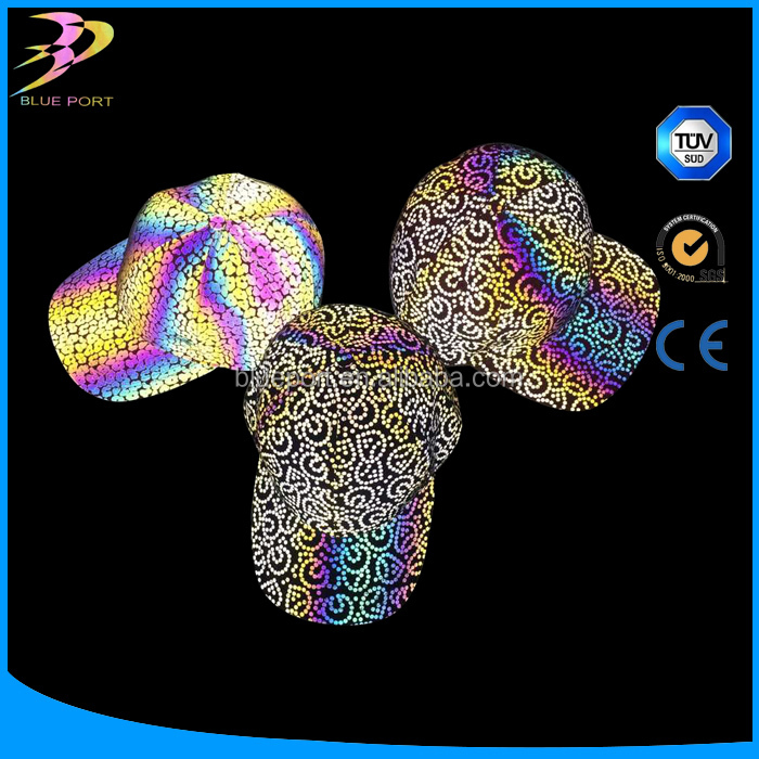 New Design Rainbow Reflective material Printed Fabric for hats in high quality