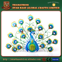 Best selling home ornament peacock animal wrought iron decoration
