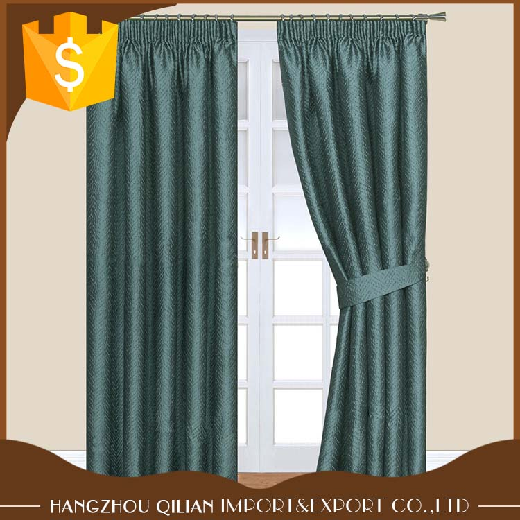 100% Polyester Window drapery Crinkle Effect Textured Jacquard Design Pencil Pleat Lined Curtains