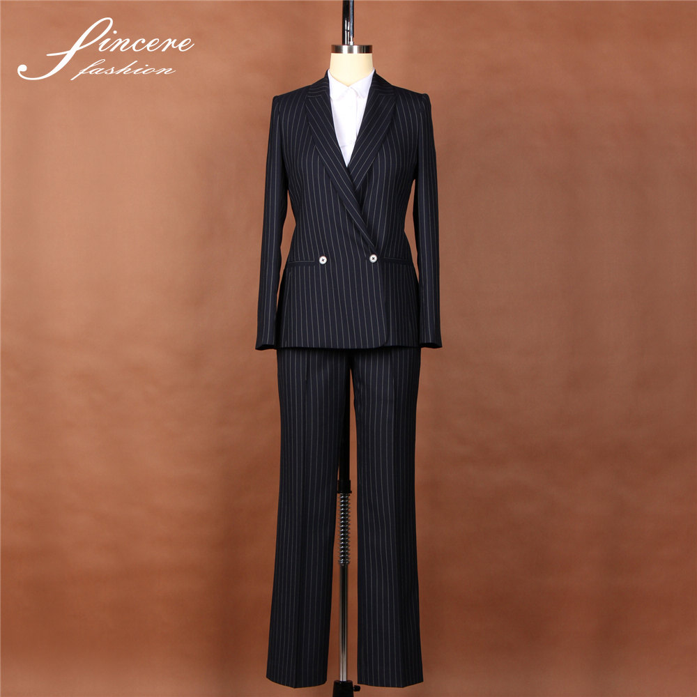 Ladies office 100% wool stripe fabric 2016 new designs fashion suits fancy ladies suits