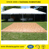 Natural teak wooden dance floor with gold aluminum trim
