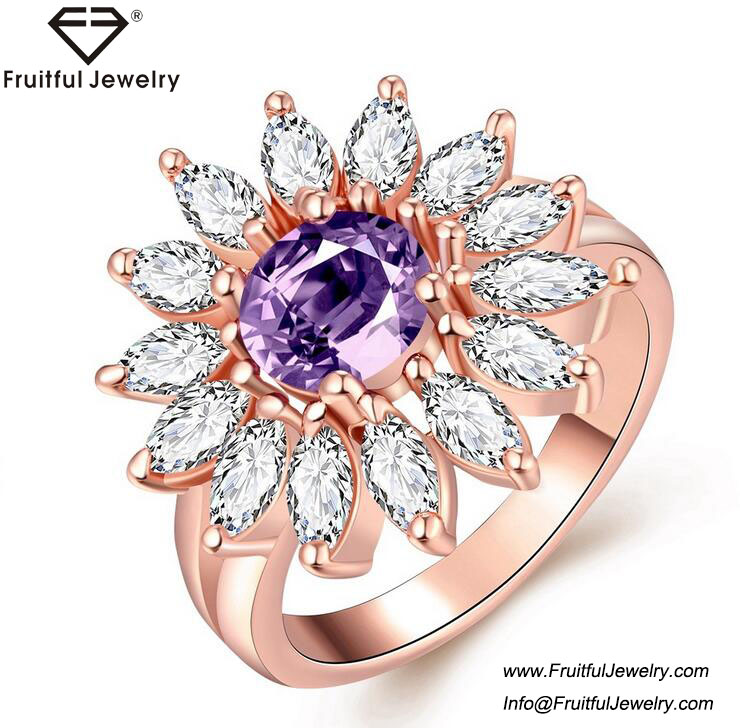 2017 Fashion Brand Jewelry Colorful Snow Zircon Crystal Stone Interchangeable Rings 18K Gold Plated Rings For Women
