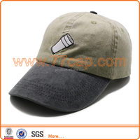 Embroidery Washed Pigment Dyed Baseball Cap With Leather Strap