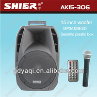 SHIER AK15-306 professional powered dj speaker concert stage speaker with Bluetooth