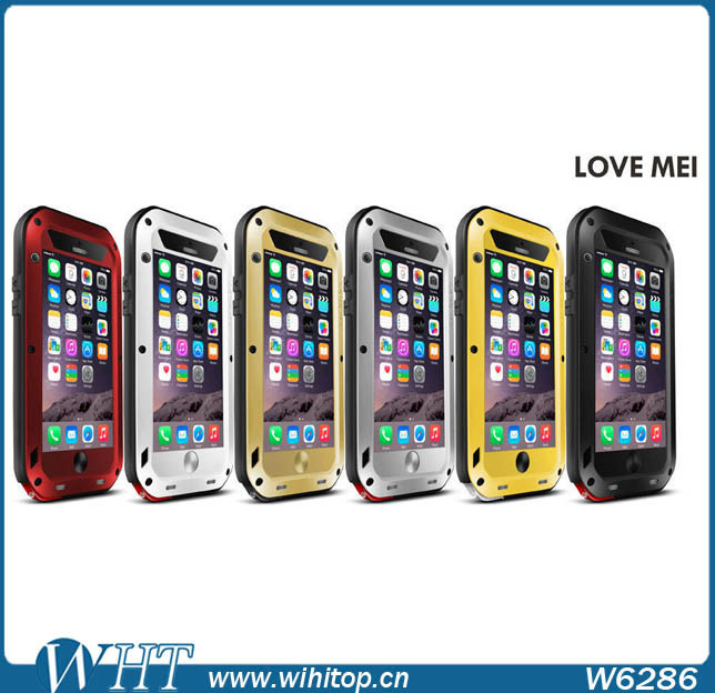 2015 New Phone Case, Gorilla Glass LOVE MEI Shockproof Waterproof Case for iPhone 6 Plus