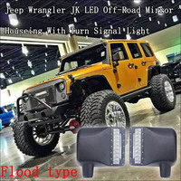 a set of high powered LED light bars integrated into factory-style side mirrors of the Jeep Wrangler JK