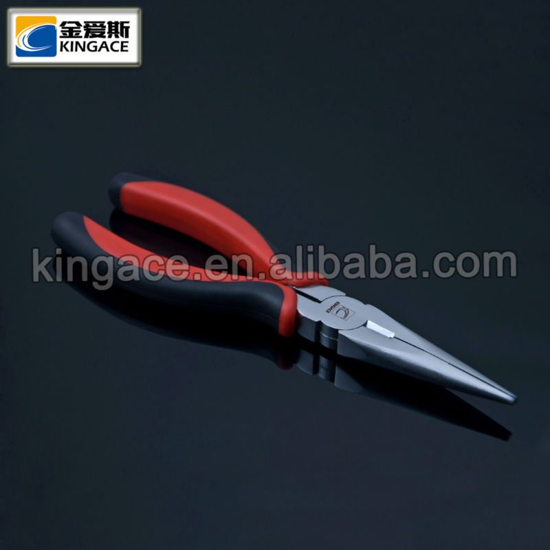 Red and Black Handles Carbon Steel Long Nose Pliers