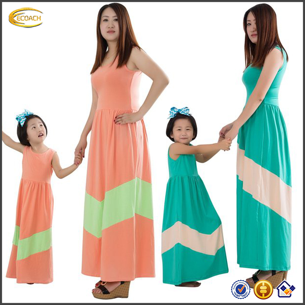 Ecoach high quality fashion casual sleeveless 95% Cotton+5% Spandex summer Children Mommy and Me Maxi Dress