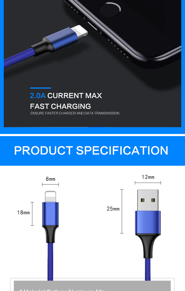 1M/3ft Usb Data 8 Pin Fast Charging Cable Usb Charger For iphone