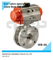 (WB-66) Air Actuated stainless steel Wafer Type Compact Ball Valve PN16