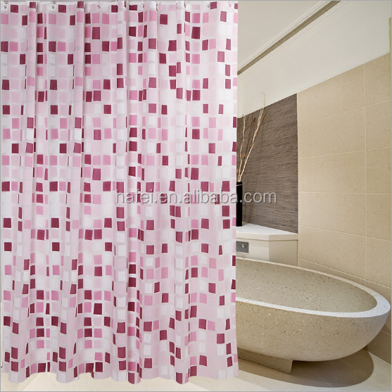 wholesale home goods fancy square pattern peva shower curtain