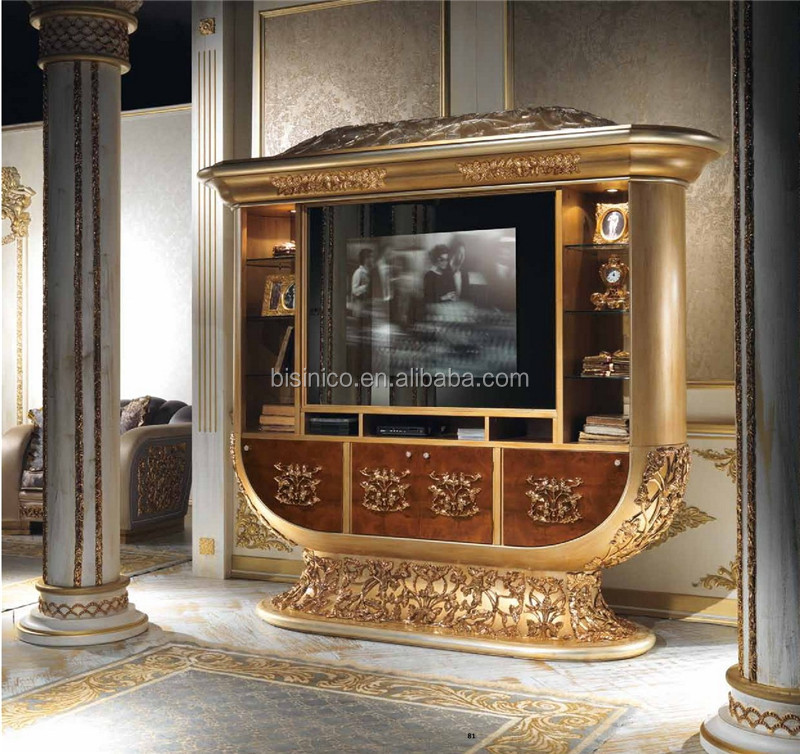 Italian Rococo Style Lovely Children Living Room TV Cabinet, Luxury Wooden Entertainment TV Cabinet Brass Mounted