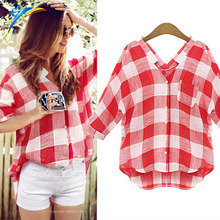 AliExpress fashion women long sleeve summer autumn plaid shirt ladies red tops blouse