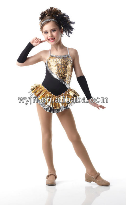 New arrived-lovely gold children prom dress dance wear