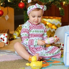 L2942A Wholesale baby wear clothes girls boutique christmas dress long sleeve children frocks design
