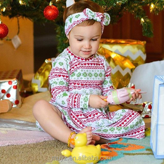 L2942A Wholesale baby wear clothes girls boutique christmas dress long sleeve children frocks design