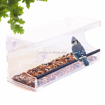 Wholesale Large Acrylic Window Wild bird Feeder /Hot sale clear large window wild bird feeder