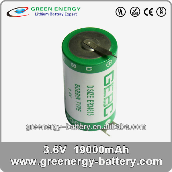 D-size extreme energy battery primary Lithium Battery ER34615 3.6V 19Ah