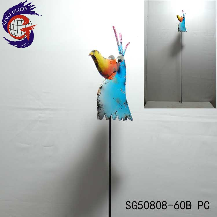 Large metal yard animals with coloured metal garden birds stake