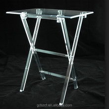 Experienced factory hand made clear acrylic folding tray table