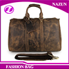 OEM custom design top quality Big Volume Vintage Long Men crazy horse Leather Duffel Bag genuine Leather Travel Bags