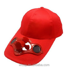 wholesale custom red fan cap with solar powered fan