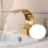 Free Shipping Ti-PVD Finish Basin Faucet Waterfall Spout Golden Bathroom Faucet Accessories