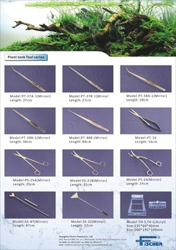 Factory supply aquarium plant tank accessories scissors, tweezers, aquarium glass tube washing brushes