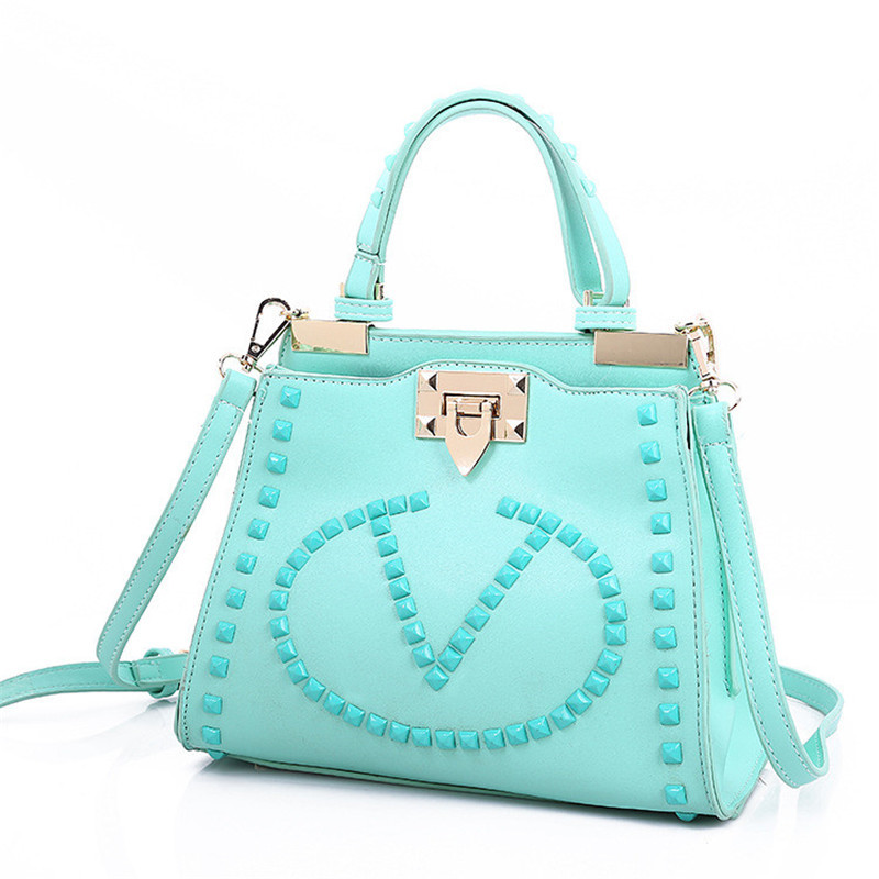2015 Scrub Handbags New Spring and Summer Rivet Simple Handbags European and American Style V Letter Scrub Handbag 2015 on-line