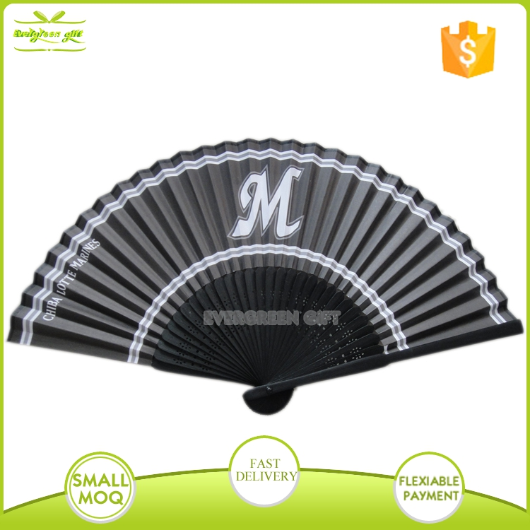 Promotional <strong>bamboo</strong> paper fabric custom printed folding hand fan