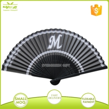 Promotional custom printed bamboo fabric folding hand fan