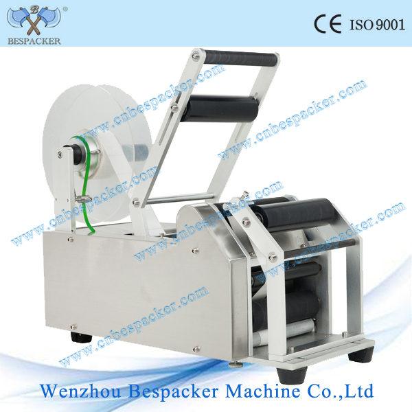 MT-50 semi-auto adhesive sticker labeling machine for round bottle